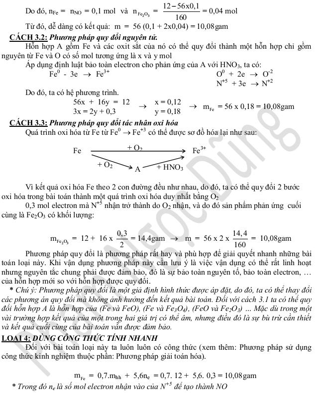 Bài toán sắt hay gặp