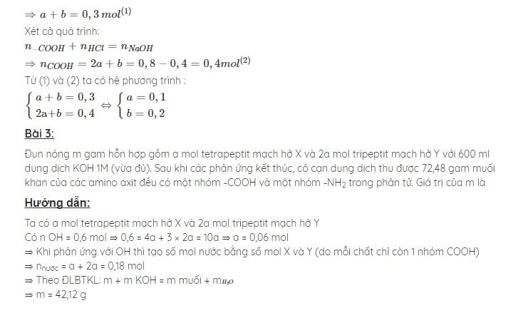 Luyện tập: cấu tạo và tính chất của amin, aminoaxit và protein.;