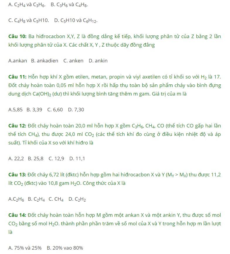 bài tập về ankan ankin anken